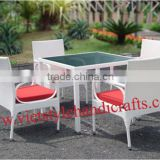VSH-PF578-579	Dining set ( 4 chairs+ 1 table) VSH-PF578B	Chair with water-resistant cushion VSH-PF579B	Table with glass