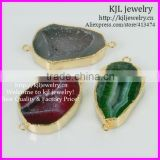 KJL-BD5226 Natural Mix Color Druzy agate pendant Connectors,geode pendant wholesale,gemstone fashion connectors