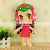 "SYZB jewelry company customize 12"" stuffed doll pink girl with Non Woven Fabric dress decoration"