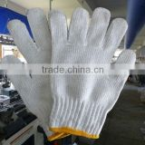string knitted poly cotton gloves, white cotton hand gloves, cheap hand gloves, safety work gloves/guantes de algodon 081