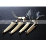 4pcs Metal Fishing Lure Hard Baits Sequins Spoon Noise Paillette with Feather/Treble Hook 5/7/10/13g