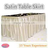 Shining Satin Table Skirt Plain Dyed Gathered Edge Table Cover Skirts