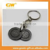 Old antique silver metal custom key chain ring