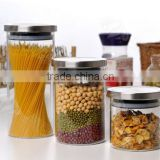 Hot sale glass Jar with wood lid , glass canister
