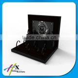 Black acrylic wall watch display wood watch case