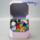 cheap10cm Ecuador Rainbow Rose with moss for Preserved flower Velvet Gift Box from yunnan