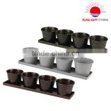 New 2015 Colorful Resin Mini Flowers Pots Plastic Bonsai with Trays Indoor Plant Pots Small Garden Planters