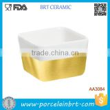 Classic Blank Square Deep Ceramic Salad Bowl Gold Plate