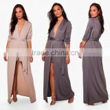 TIE WAIST TEXTURE DUSTER & SHORT CO-ORD Fashion Women Classic Long Maxi Dust Coat With Shorts Sets Suit