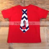 Custom children's clothing Boys 4th of July Patriotic Navy Blue & White Chevron Tie Shirt Cotton Short Sleeve