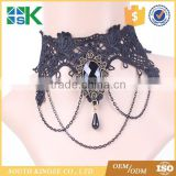 Black Lace Pearl Necklace European American Retro Jewelry Inlaid with Precious Stones Fake Collar Lace Chokers for Women
