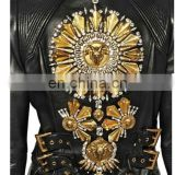 Women's Faux Leather zip closure Long sleeve Bolero Imitation Leather Jacket bomerJacket Blazer with applique beads embroidery