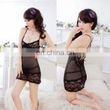 Chaozhou Supplier Hot Selling Long Fashion New Ladies Lace Slip Black Transparent Sexy Lingeries