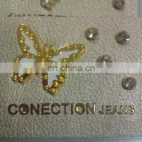 butterfly pu leather patch with rhinestones, jeans label with badge