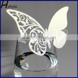 Table Wine Glass Name Place Card Wedding Party Laser Cut Butterfly White SC111