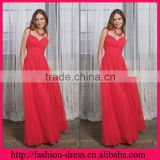 Hot Sale Sweetheart Spaghetti Straps Empire Style with Ruffles Pink Floor Length Evening Dress Wholesale