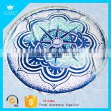 Low Price Low MOQ 100% Cotton Luxury Reactive Printed Velour Round Beach Towels With Tassel