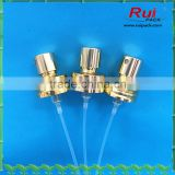 Golden aluminum screw mist water sprayer,golden aluminum perfume sprayer pump