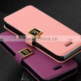 Hot Selling Wallet Leather Case for Iphone 5,For iPhone 4 / 4S Case Metal Button D Protection PU Leather Case
