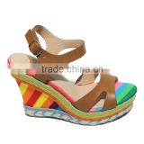 Summer high heel ladies fashion leather coloful shoes women sandals                                                                                                         Supplier's Choice