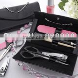 Wedding favor pedicure set black purse pedicure sets contains nail file, scissors, clippers, and cuticle instrument