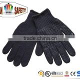 FTSAFETY 7G Poly-cotton BLACK String Knit Gloves With PVC Dots for Safety