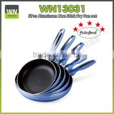 Different size frying pan granite aluminium induction safe pan blue fry pan with nonstick coating