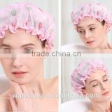New Shower Cap Women's Waterproof Ribbon Lace Bow Style Double-deck Elastic Band Shower Hat for Bath Spa (Rose Sun