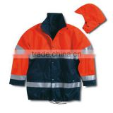 Gore-Tex two colour oil resistant breathable and waterproof reflective rain jacket EN343