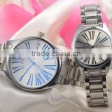 China supplier Wholesale Quartz Movt Couple Watches with Japan movt stainless steel chain
