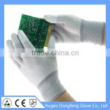High quality low price anti static nylon-carbon liner coated PU on fingertips electrical work gloves