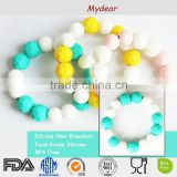 Teether necklaces bracelet Food Grade Teething beads Baby import silicone beads teething necklace