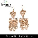 Wedding jewelry golden alloy hollow plant earrings jewelry dangle earring wedding jewelry clothes accessory