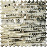 2016 shining gold bead piece embroidered of mesh fabric for dress
