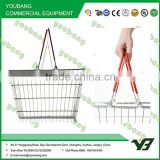 Double Handle Supermarket Shopping Basket , wire mesh shopping basket Silk screen printing                                                                         Quality Choice