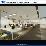 2014 modern white high end artificial marble office desk commercial office tables for 4 people