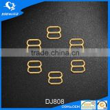 Gold plated metal bra strap adjuster slider buckle 8mm