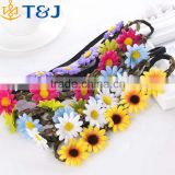>>>Boho Daisy Hairband Headband Wedding Festival Elastic Flower Floral Hair Garland/