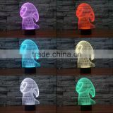 3D Optical Night Light Ghost Spirit 7 RGB Light Colors 10 LEDs AA Battery or DC 5V Mixed Lot