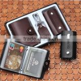 Factory Direct Sale High Quality Gift Leather Card Holder+ Key bag+Key Chain With Gift Box