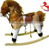 74*30*58cm ASTMF963 customized stuffed playful plush rocking horses series toy with wooden base&music