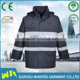 men new design navy blue parka workwear winter padding waterproof safety reflective work jacket with hood