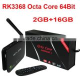 Z4 Android 5.1 Lollipop OS RK3368 Octa Core 64Bit TV Box 2GB RAM 16GB ROM BT 4.0 Dual wifi 2.4G 5.8G Set Top Smart Media Player