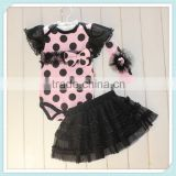 Baby cute polka dots print with match black tutu and headband bodysuit for infant baby girl rompers tutu rompers with headband