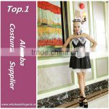 Wholesale new design lace Hem brocade bra and apron dress costumes french maid for woman