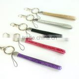 Promotion Gift PU Crystal Gem Lanyard, Swivel Snap Hooks, Key ring accembly, Acrylic Gem Key chain