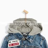 New fashion wholesale custom washed design high quanlity kids boys print denim jacket with a hood