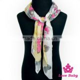 Wholesale Korean Style Lady Soft Floral Pattern Printing Neck Girl Silk Scarf Bandanna Teen Girl