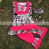 2016 new hot girls hot pink flower sleeveless capri set outfits with matching necklace and headband