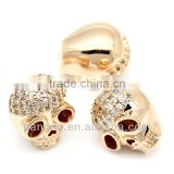 "Copper Charm Beads Skull Halloween Exquisite Clear Cubic Zirconia Rose Gold Hollow 12mm x 10mm( 4/8""x 3/8""),1PC,Hottest"